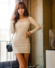 c714349b79e6 White Slim Fitting Korean Fashionable Dress with Top Back Decorative Lace 1  Korean Fashion Summer,