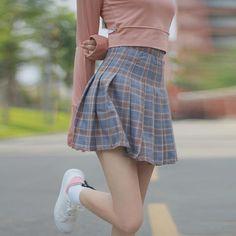 Cute Brown/Blue/pink Plaid Highwaisted Skirt SP178936
