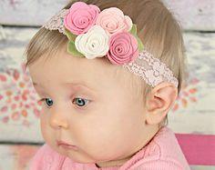 Pink felt flower headband - newborn/baby/toddler headband -  Spring bouquet headband -
