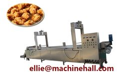Pork Ball Frying Machine For Sale http://www.fried-machinery.com/products/meat-fryer/pork-ball-frying.html Email:ellie@machinehall.com