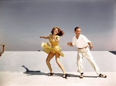 How I love Fred Astaire! Rita Hayworth and Fred Astaire practicing the 'Shorty George' routine from You Were Never Lovelier on top of the studio roof, 1942