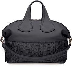 Givenchy Nightingale Medium Stamped Crocodile Satchel Bag, Black on shopstyle.com
