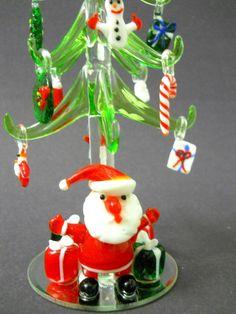 Glass Christmas Tree Removable Glass Ornaments Santa Claus Mirror Base Presents