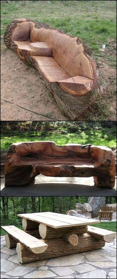 Diy Furniture: Unique Furniture Made From Tree Stumps And Logs Aside from their beauty, what makes these pieces of furniture astonishing is that it takes great woodworking skills and talent to make one! Log Furniture, Unique Furniture, Furniture Making, Garden Furniture, Furniture Ideas, Furniture Design, Tree Stump Furniture, Tree Stump Table, Repurposed Furniture