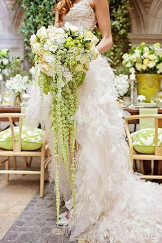 green cascading wedding bouquets via melanie rebane photography