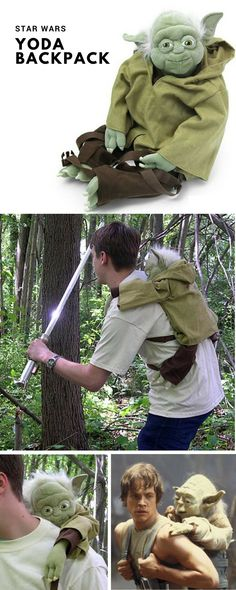 Yoda Backpack. This could be a great best gift for geek friend,  mother's or father's day, birthday for women or men, girls, boys and little kids, christmas, girlfriend, boyfriend, couples, valentine, bridesmaid, graduation, weeding, engagement and retirement. It's an inexpensive great meaning present and personalized for any funny guys anniversary. #geek #cheap #unique #weird #DIY #unusual #homemande #online #coolideas #shop #her #him #Starwars