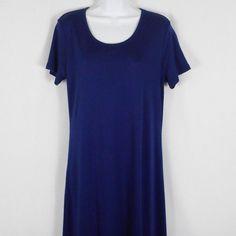 0643e5fa Lands End Womens Maxi Dress Blue Sz M Pima Cotton Short Sleeve Scoop Neck  New #