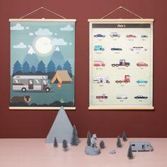 Jut en Juul : Nieuwe Schoolplaten Schoolplaat Auto's  50 x 70 cm vintage look