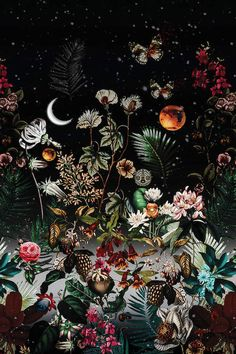 Night Canvas Print by Burcu Korkmazyurek - Wallpaper quotes - Blumen Arte Inspo, Kunst Inspo, Wallpaper Backgrounds, Disney Phone Backgrounds, Wallpaper Quotes, Art And Illustration, Art Illustrations, Aesthetic Iphone Wallpaper, Backgrounds