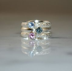 Stackable Birthstone Mothers Rings@ etsy.com