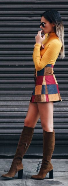 #Summer #Outfits / Suede Color Skirt + Yellow Long Sleeves Top