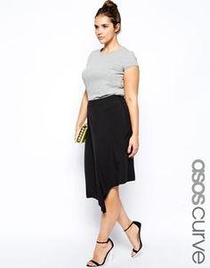 Image 1 ofASOS CURVE Exclusive Midi Skirt With Step Hem