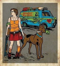 Velma and Scooby-Doo in the Zombie Apocalypse. Old, but still awesome.