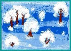 Нетрадиционные техники рисования. Урок №3 «Увлекательное рисование методом тычка». Воспитателям детских садов, школьным учителям и педагогам - Маам.ру Winter Art Projects, Winter Crafts For Kids, School Art Projects, Winter Kids, Diy For Kids, Christmas Decorations For Kids, Christmas Crafts, Snowflakes Art, Playing Cards Art