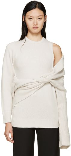 Toga: Beige Superimposed Knit Sweater   SSENSE