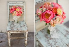 orange and peach bouquet - lane dittoe fine art wedding photography