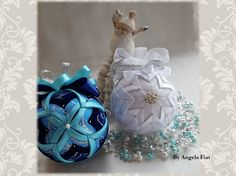 Vintage Christmas Ornament/White Christmas / White Christmas ornament/Silver quilted ball/ quilted Christmas tree decoration by AngelsHandmadeCrafts on Etsy