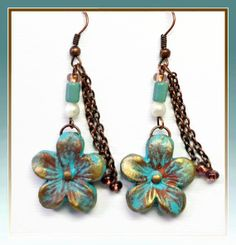 Vintage Flower Dangle Earrings polymer clay by BeadazzleMe on Etsy, $16.00