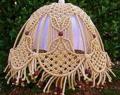"Vintage Wood Beaded Fringed Finished Hand Made Crafted 14"" Macrame Lamp Shade 