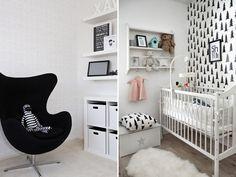 Quartinho de bebê - decoração preto e branco - estilo moderninho - berço papel de parede - poltrona de amamentação