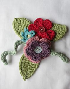 Fairly traded cotton flower brooch £12.00 or come and make it yourself http://www.mrscraftypants.co.uk/2015/02/crochet-flower-brooch-workshop.html