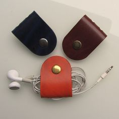 Earbud / earphone / cable organizers in dark blue, brown and rust vegetable tanned leather   Set of 3 by RinartsAtelier on Etsy