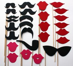 These would make fun place-cards and double as photo-booth props! Write guests' name/tablenumber on the backside.