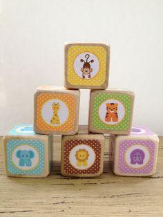 Baby Animal Blocks // Natural Wood Toy // Baby by StorybookBlocks, $26.00