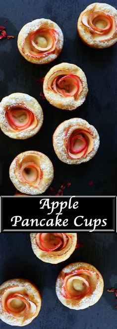 Pretty, elegant, cute, easy, adorable, fun pancake cups baked with apple roses. Ideal for Valentine's day or Mother's day breakfast, brunch.