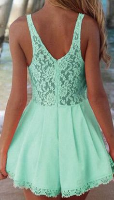 Green Lace Romper YASSSS!!!!!
