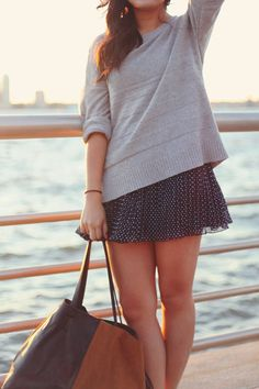 sweater + skirt. classic combination for an outfit.