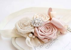 Couture Chic Girl Headband With Cream and Golden Tulle Shade  Roses Baby Girls Headband