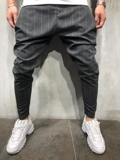 Striped Drop Crotch Jogger Ankle Pants 4070 for Sale in Saint Cloud, FL - OfferUp Trouser Pants, Ankle Pants, Jogger Pants, Man Pants, Suit Pants, Streetwear Fashion, Men Street, Street Wear, Tumblr Outfits
