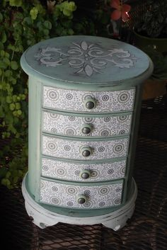 """$105. Round Vintage Wood J-Box Hand Painted, moderately distressed, waxed w/European Paste Wax. French wallpaper design decorative paper applied to drawer fronts and metallic pewter covered buttons. 12"""" Tall x 9.5"""" Wide x Drawers are 5"""" x 5"""" by Eweniques."""
