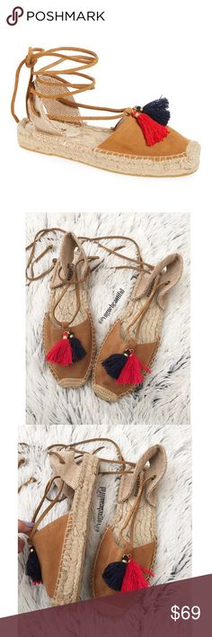 """Soludos Platform Tassel Sandals Super cute soludos tassel platform sandals • size 7 • this style only has whole sizes, so for 1/2 sizes you would order a size up • excellent preloved condition with little to no wear • sold out in this size online! • M width • 1"""" platform, lace up style • NO TRADES Soludos Shoes Sandals"""