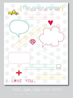 FREE Mother's Day Love Note Printable by Kiki and Company for Tatertots and Jello!! #DIY #mothersday