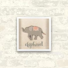 10 in. x 10 in. Elephant 1-Piece Shadowbox with Raised Shape