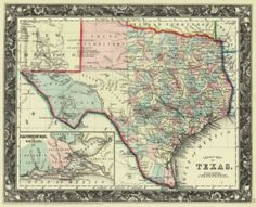 Map Antique County Map of Texas. 10.75 H x 13.25 W Inches  S. Aug. Mitchell (Jr.) 1861. Philadelphia.