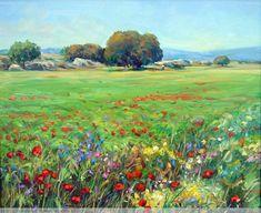Paisaje de primavera con encinas Jesus Helguera, Spring Is Coming, Landscapes, Beleza, Artworks, Seasons Of The Year, Paint