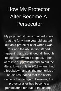 How My Protector Alter Become A Persecutor – Fighting for a Future Mental Health Art, Mental Health Disorders, Verbal Abuse, Emotional Healing, Emotional Abuse, Disassociative Identity Disorder, Ptsd Awareness, Dissociation, Identity