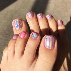 20 Adorable Toe Nail Art Inspirations – My hair and beauty Pretty Toe Nails, Cute Toe Nails, Dope Nails, Nail Art Salon, Toe Nail Art, Hair And Nails, My Nails, Summer Toe Nails, Pedicure Nail Art