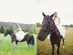 Beautiful bride on a beautiful horse at her farm wedding