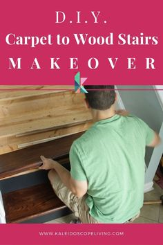 This DIY staircase makeover was accomplished in a weekend and looks like a professional job! Proof that a staircase remodel can be a DIY job. Find the tutorial here at Kaleidoscope Living Diy Home Decor On A Budget, Diy Home Decor Projects, Cool Diy Projects, Diy Room Decor, Wood Stair Treads, Wood Stairs, Removing Carpet From Stairs, Staircase Makeover, Staircase Ideas