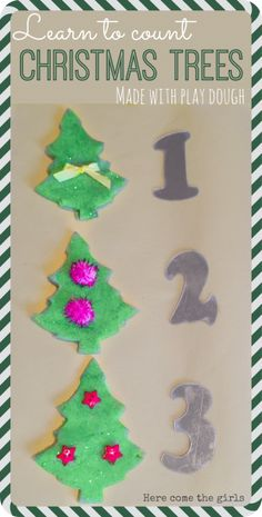 Learn to count and recognise numbers using play dough christmas trees. Christmas Crafts For Kids To Make, Preschool Christmas, Christmas Activities, Craft Activities, Christmas Themes, Holiday Crafts, Christmas Holidays, Christmas Cards, Kids Holidays