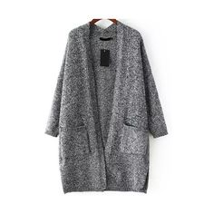 With Pockets Knit Grey Cardigan ($21) ❤ liked on Polyvore featuring tops, cardigans, romwe, sweaters, grey, knit cocoon cardigan, knit top, pocket cardigan, loose tops and embellished cardigan