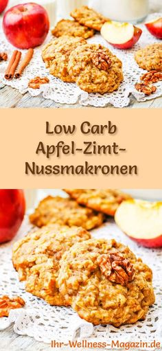 Low-Carb-Weihnachtsgebäck-Rezept für Apfel-Zimt-Nussmakronen: Kohlenhydratarme… Low carb Christmas biscuit recipe for apple and cinnamon nut macaroons: Low-carbohydrate, low-calorie Christmas biscuits – baked without cornmeal and sugar … carb bake Cinnamon Recipes, Apple Recipes, Apple Cinnamon, Cinnamon Cookies, Cinnamon Biscuits, No Calorie Foods, Low Calorie Recipes, Christmas Biscuits, Christmas Cookies