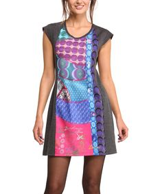 Look at this Gray & Purple Geometric-Insert Cap-Sleeve Dress - Women on #zulily today!