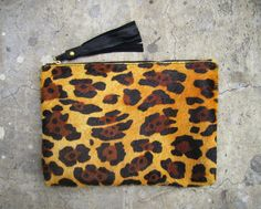 Cheetah Leopard Print Calf Hair Zipper Leather Pouch , $89.00 by L I N