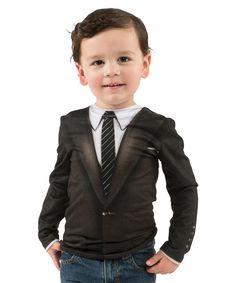 This Black Suit Tee - Toddler by Faux Real is perfect! #zulilyfinds