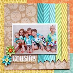 Scrapbook paper strips layout